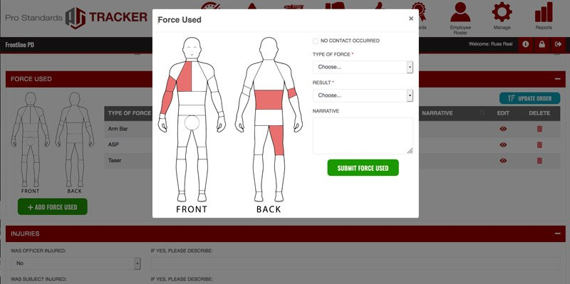 Pro Standards Tracker includes a clickable diagram for the reporting officer to designate where the force was directed, the type of force used, and whether it was effective in subduing the subject.