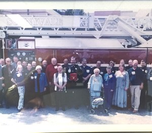 Cardiac arrest survivors and the first responders who saved them gather together during the Sunnyvale Sudden Cardiac Arrest Survivor Reunion in 2003. (Photo courtesy of Steve Drewniany)