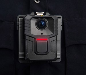 The new WatchGuard V300 body-worn camera from Motorola Solutions features a detachable 12-hour swappable battery pack to enable continuous operation, as well as secure wireless uploading and the ability to capture video after the fact. (image/Motorola Solutions)