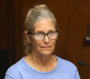 In this Sept. 6, 2017 file photo, Charles Manson follower Leslie Van Houten attends her parole hearing at the California Institution for Women in Corona, Calif. (Stan Lim/The Orange County Register via AP, Pool, File )