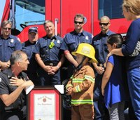 Boy, 6, with terminal disease becomes firefighter for a day
