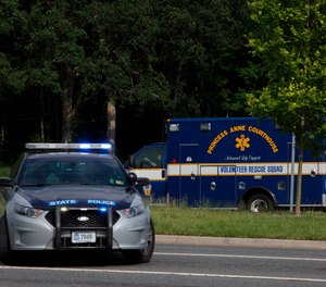 Emergency vehicles respond near the intersection of Princess Anne Road and Nimmo Parkway following a shooting at the Virginia Beach Municipal Center on Friday, May 31, 2019, in Virginia Beach, Va. (Kaitlin McKeown/The Virginian-Pilot via AP)
