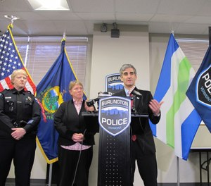 Burlington Mayor Miro Weinberger announces the resignation of Police Chief Brandon del Pozo days after it was revealed that del Pozo had used an anonymous Twitter account to heckle a city critic online. (Photo/AP/Lisa Rathke)