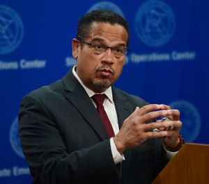 In this Wednesday, May 27, 2020, file photo, Minnesota Attorney General Keith Ellison answers questions during a news conference in St. Paul, Minn., about the investigation into the death of George Floyd, who died May 25, while in the custody of Minneapolis police officers. (John Autey/Pioneer Press via AP, Pool, File)