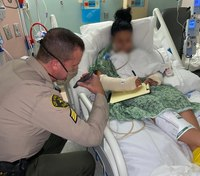 Photos: LA deputy shot in ambush takes call from Trump in hospital