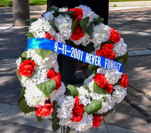 A wreath in remembrance of law enforcement officers who died because of the 9/11 terror attacks. (Photo/National Law Enforcement Memorial Fund)
