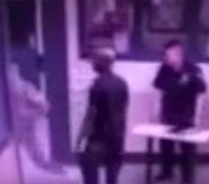 Pictured is a still shot of the surveillance video that captured six inmates attacking a CO in the George Motchan Detention Center at Rikers. (Photo/NYC DOC)