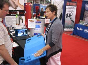 Image Jamie ThompsonKathleen Kornaker, a Cleveland-based recovery room nurse who invented the BariBoard, displays the product at EMS Expo 2011.