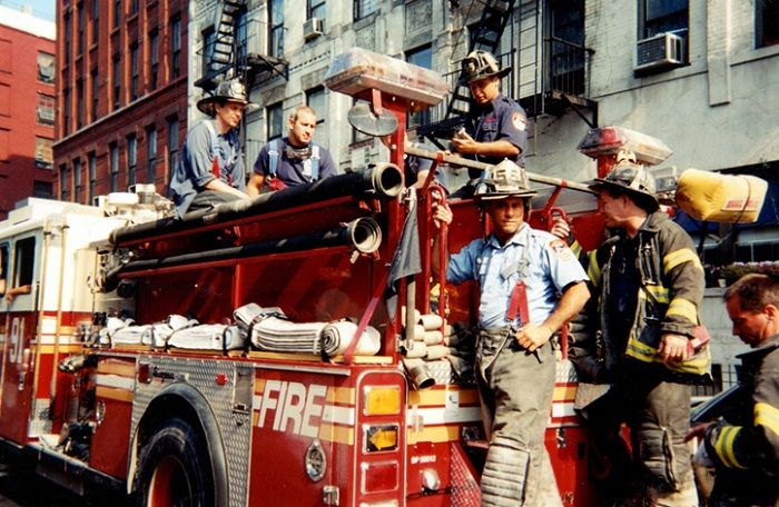 A younger Steve Buscemi working with firefighters at Little Italy's Engine Co. 55