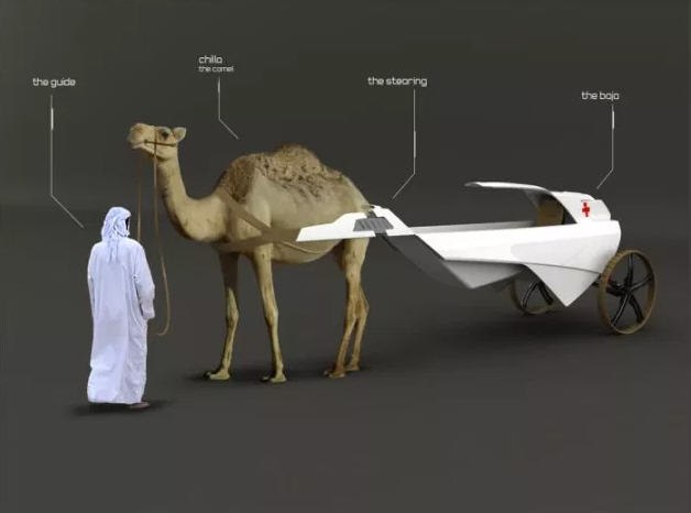The Cambulance is a medical transport vehicle designed to be pulled by camels.