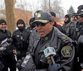 Detroit Police Chief James Craig speaks with the media during Operation Mistletoe, a raid targeting drug dealers on Detroit's west side.
