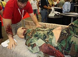 Photo Jamie ThompsonParry displays his trauma simulation kit.