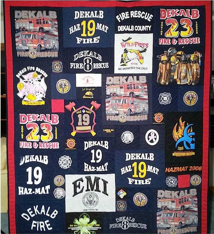 Keep your dad warm with a blanket made out of his favorite firehouse tees. (Photo/Too Cool T-Shirt Quilts)