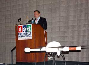 Photo Jamie Thompson Michael Grubl, of MDAI Germany, speaks about the use of new firefighting technology at Fire-Rescue International.
