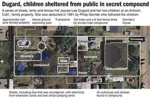 Graphic shows details of the kidnapper's property in Antioch, California. (AP Photo)