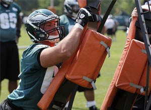 AP Photo/Alex Brandon Philadelphia Eagles guard Danny Watkins works during an NFL football practice at their training facility Thursday, May 24, 2012 in Philadelphia.