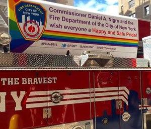 A FDNY fire truck bearing a
