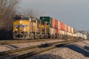 A double stack on a railroad freight train.