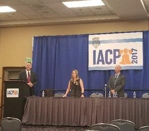 Police Legal Advisor Joseph Polzak, Chief of Police Bernadette DiPino and Patrol Division Captain Kevin Stiff discuss the Sarasota P.D.'s homeless outreach program at IACP 2017.