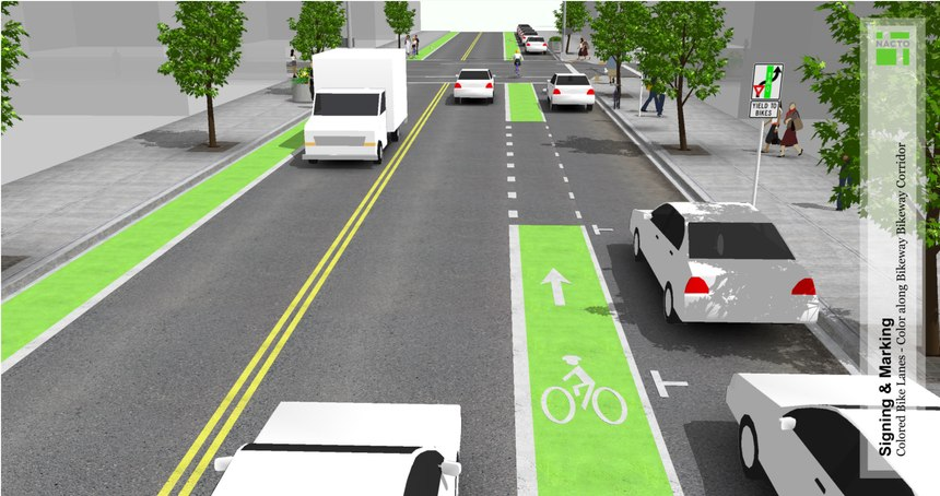 Colored bike lanes, as pictured here, are an innovative way to elevate awareness of bicyclists.