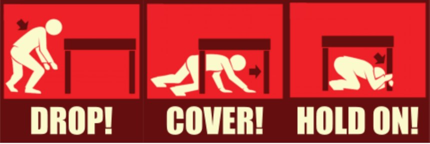 If you are indoors during an earthquake, be sure to drop to the ground, cover your head and hold on to something stable.