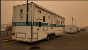 The command trailer from Butte County's Regional North Valley Animal Disaster Group (NVADG), a partner of the International Fund for Animal Welfare (IFAW), served as the command post for animal-related calls.