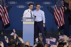 Pete Buttigieg is joined by his husband Chasten Glezman before he announced that he will seek the Democratic presidential nomination during a rally in South Bend, Ind., Sunday, April 14, 2019. Buttigieg, 37, is serving his second term as the mayor of South Bend.