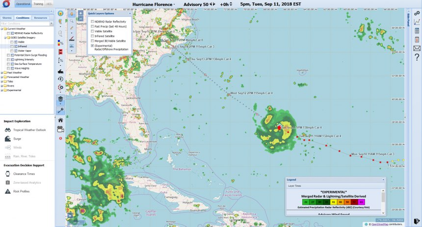 A new addition to HV-X in 2018 is the offshore precipitation visualization capability (OPC), which provides a pseudo radar coverage capability where no radar is available. Here it is being used for Hurricane Florence.