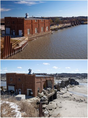 Spencer Dam, before and after breach