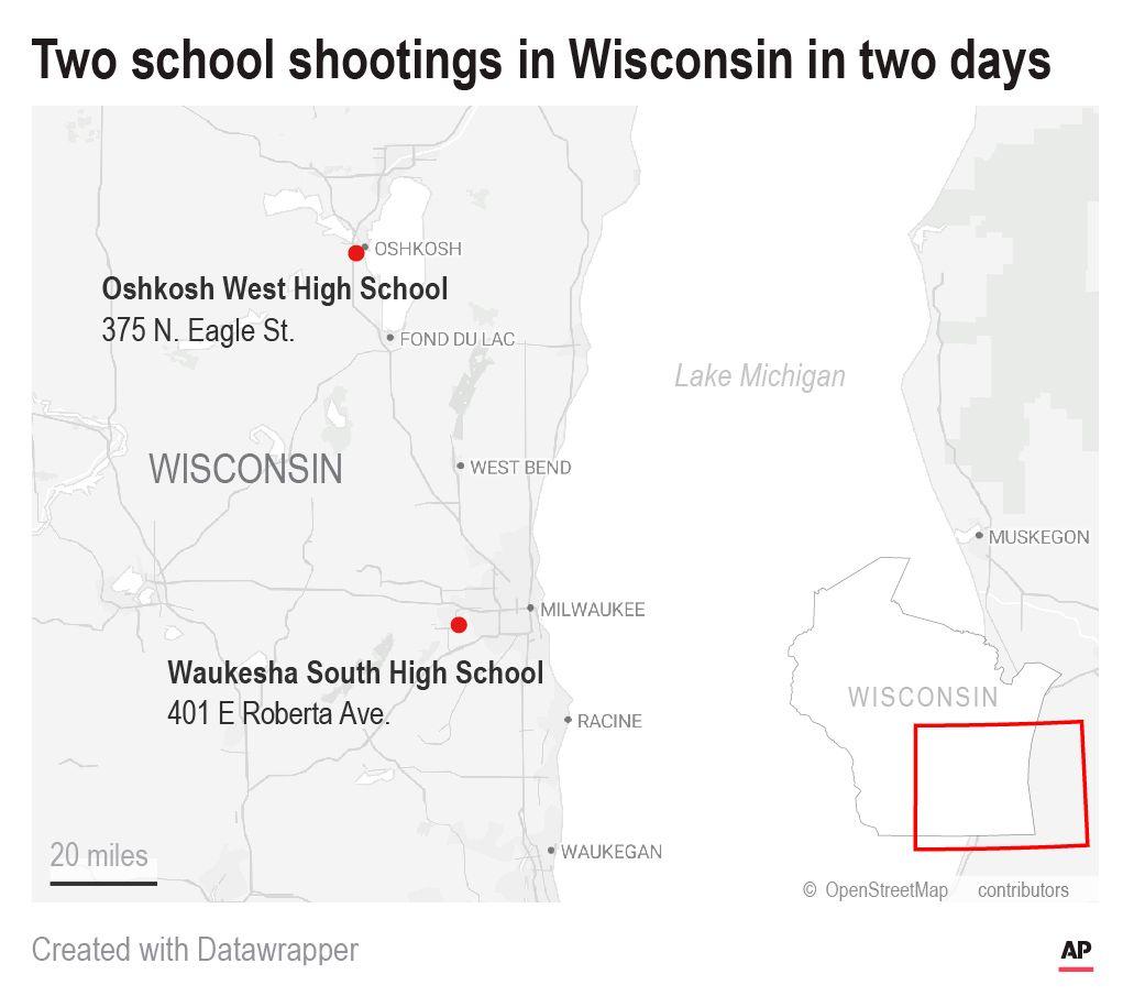 Map of Wisconsin School Shootings