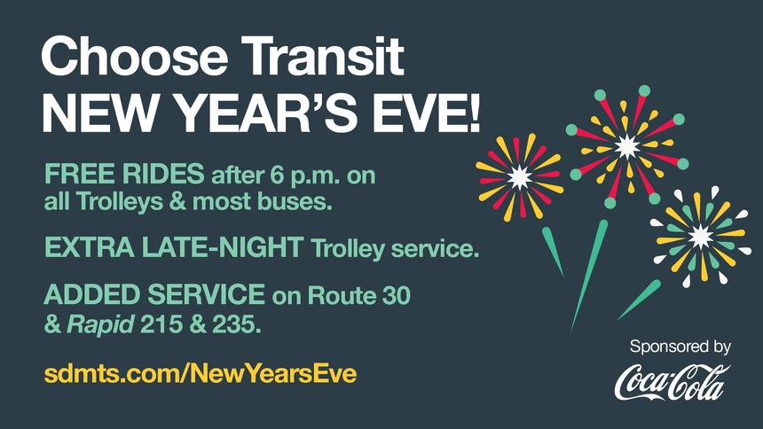 San Diego New Year's Eve Transit flyer