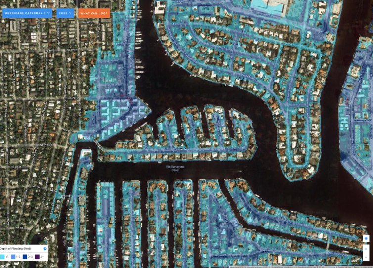 Maps can be a way to see potential flood risk. Image: www.FloodiQ.com, Author provided
