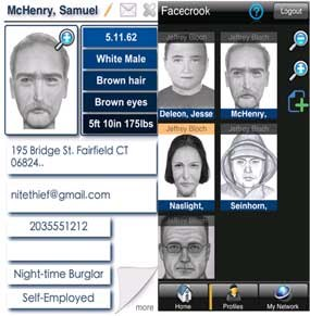 A composite of two displays of the Facecrook app.