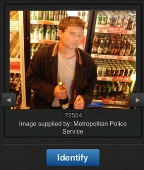 This screenshot shows the image of a suspect as it appears while using the Facewatch app, which allows citizens to quickly identify criminals.
