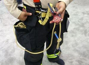 Photo Jamie ThompsonLion Apparel's Personal Rescue System is shown at FDIC.