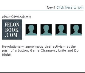 A screenshot shows the welcome message on the front page of Felonbook.com.