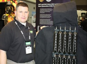 Photo Scott BrunerMSA's Henry Fonzi shows off the pressure-vessel cylinders that will make the SCBA not only feel considerably lighter, but also offer improved flexibility and a lower profile.