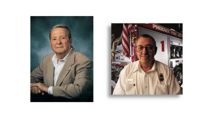 The Darley Family Foundation made a donation in honor of William Darley, a longtime IAFC Foundation Board of Directors member (left), and fire service legend Chief Alan Brunacini (right). (Photo/IAFC)