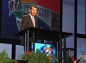 Photo Jamie ThompsonDeputy Administrator Manning addresses an audience at FRI.