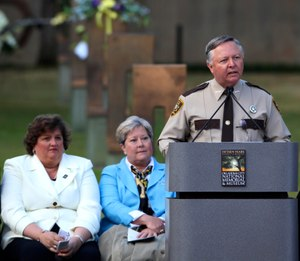 Charlie Hanger speaks during the memorial ceremony for the 15th anniversary of the Oklahoma City bombing, Monday, April 19, 2010, in Oklahoma City. (Photo/AP)