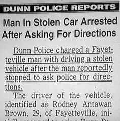 thief arrested after asking for directions