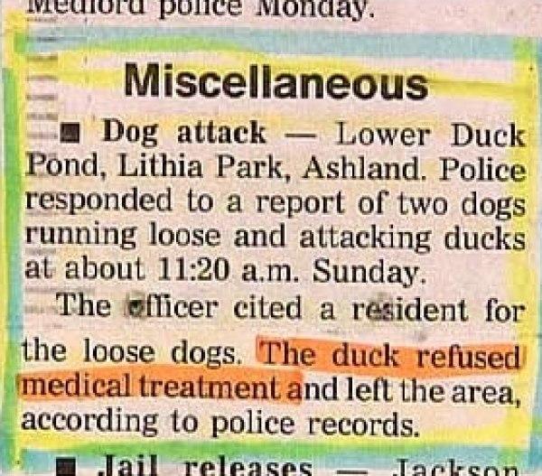 duck refuses medical treatment