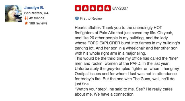 funny firefighter yelp review, crush on firefighter