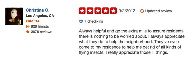 funny firefighter yelp review, killing insects