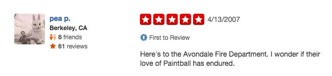 funny firefighter yelp review, paintball fans