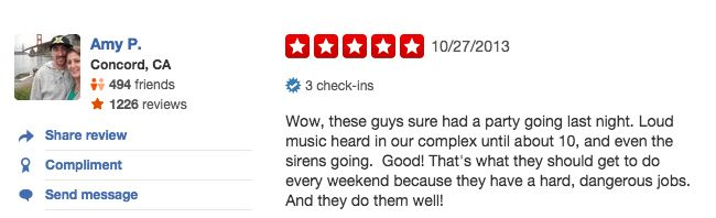 funny firefighter yelp review, partying with music and sirens