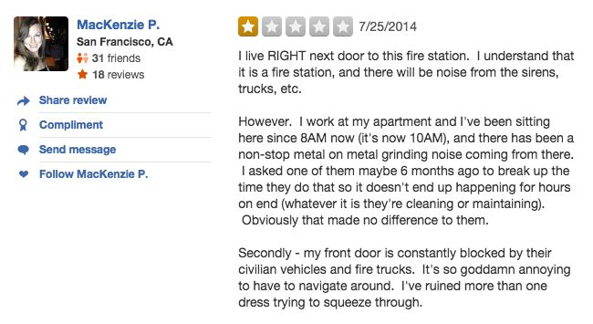 funny firefighter yelp review, noisy neighbors