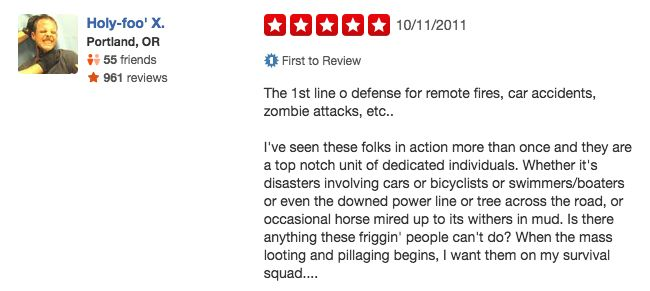funny firefighter yelp review, survival squad