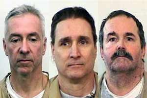 From left to right: Mark Booher, Lance Battreal and Charles Smith, the three inmates who escaped from the Indiana State Prison on Sunday night. (AP photos)