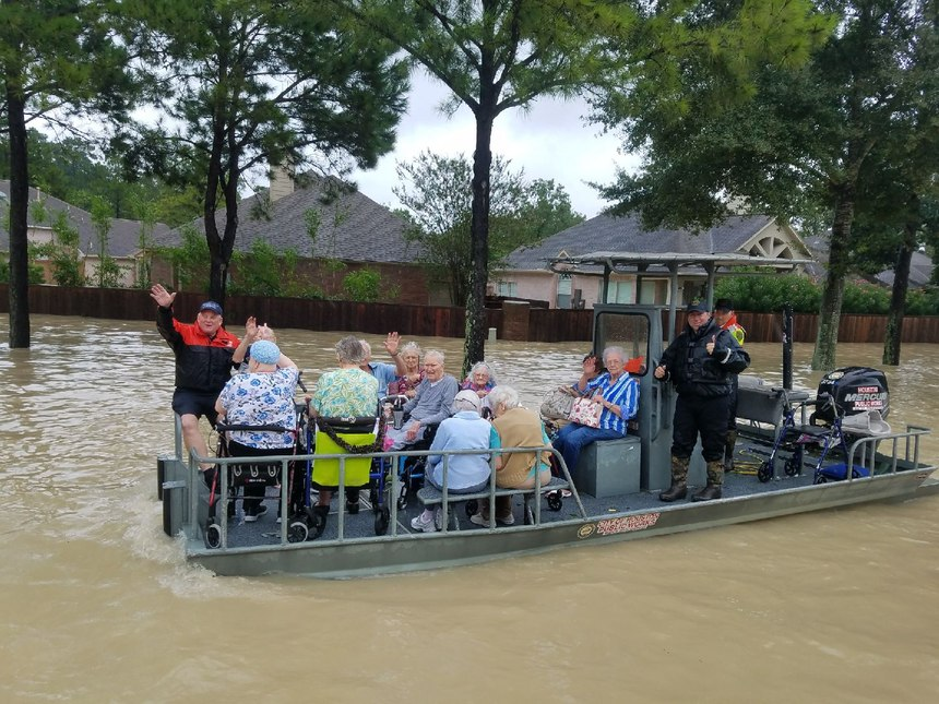 Pictured is Officer Ramon during Harvey rescue operations.